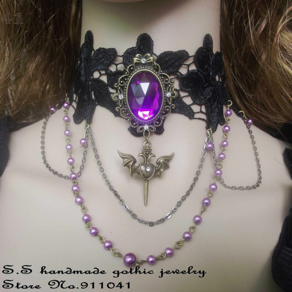 Dark gothic jewelry black lace purple crystal love heart for Black and blue jewelry cross necklace