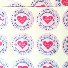 "120PCS  ""Thank you"" Heart Round eco-friendly Kraft Stationery label seal sticker Students' DIY Retro label handmade products"