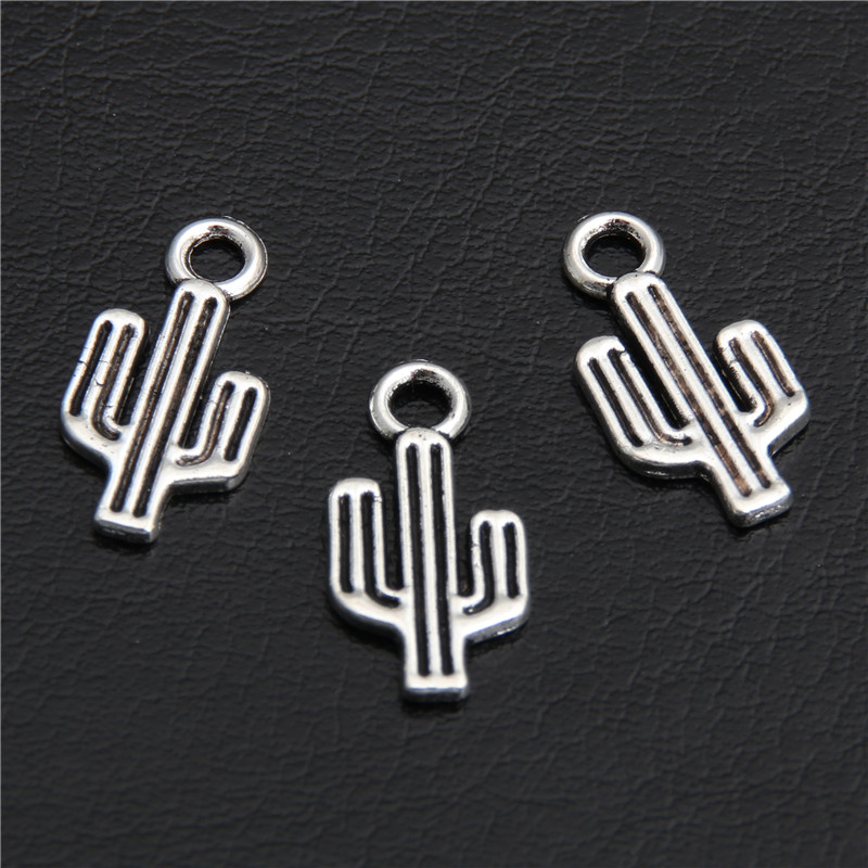 Cactus Charms Pendants Bracelet Necklace Jewelry-Making Tibetan Silver 100pcs Handmade