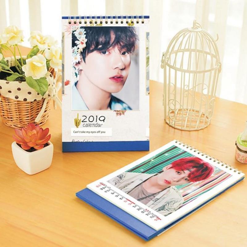 1 Pcs Novelty Kpop BTS Bangtan Boys JUNG KOOK 2019 Year Table Desktop Paper Spiral Calendar Stationery Calendar Fans Gifts поло print bar jung kook 97