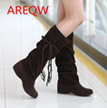 New autumn winter snow boots women flat high knee boots plus velvet shoes Korean version thin boots  B1