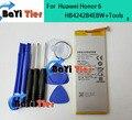 100% novo para huawei honor 6 hb4242b4ebw bateria 3000/3100 mah li-polímero bateria para huawei 6 smartphone em estoque + ferramenta