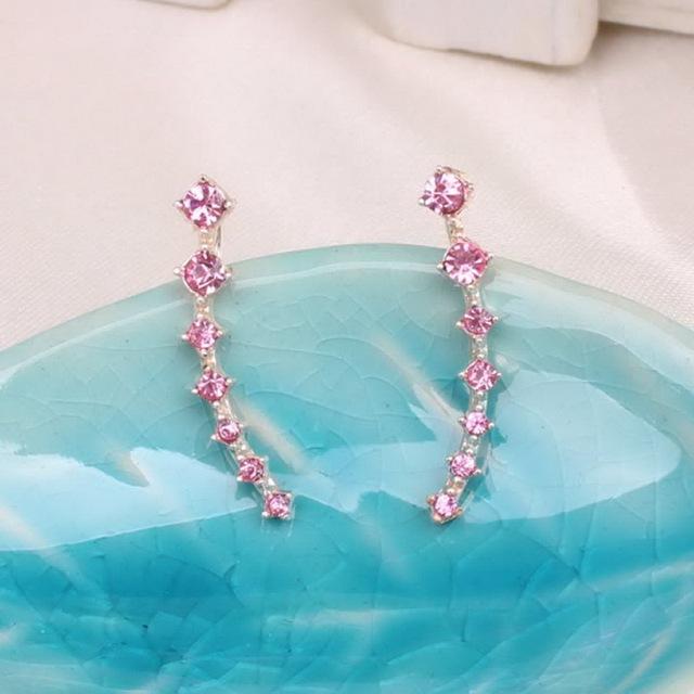 Rose Gold  Rainbery Bar Shape Stud Earrings