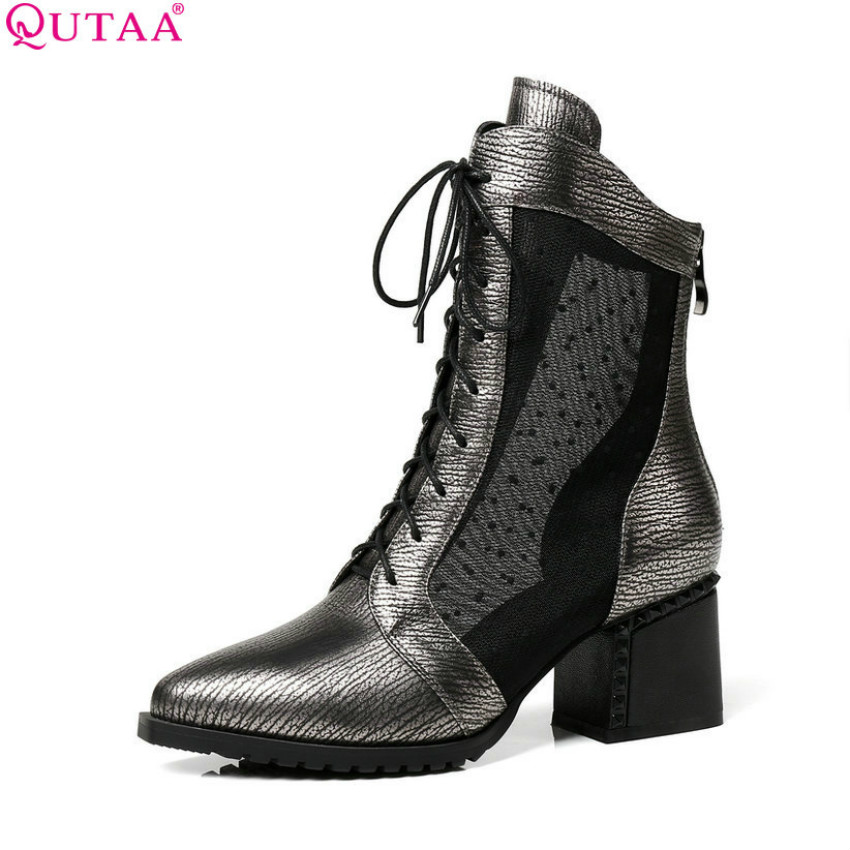QUTAA 2018 Women Ankle Boots Pointed Toe All Match Cow Leather +pu Solid Square High Heel Lace Up Ladies Boots Szie 34-43 women s ankle boots strappy pointed toe vogue comfy all match shoes