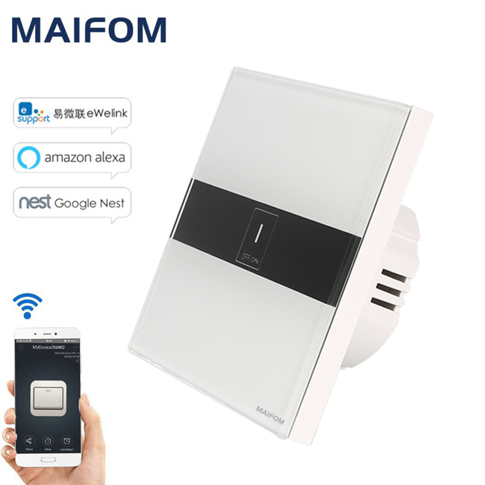 MAIFOM WiFi Smart Switch APP Remote Control 1 Gang 1 Way Touch Switch Luxury Glass Panel Waterproof Touch Wall Light Switch black color 2gang touch light switch with wireless remote control rf 433mhz glass panel smart wall touch switch uk type