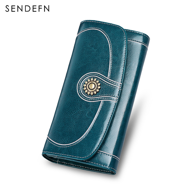 Brand Leather Vintage Quality Wallet Designer Skin Wallet Women Split Leather Women's Wallets Large Capacity For 5.5 inch Phone