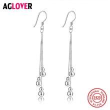 925 Sterling Silver Beads Earrings Italy Polishing Process Shiny Drop Earring Women Jewelry