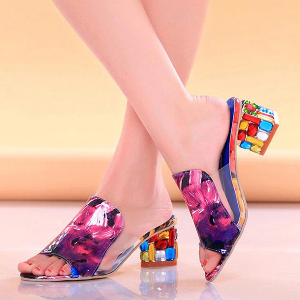 HTB1VgTpuQKWBuNjy1zjq6AOypXal KarinLuna 2019 brand Big size 41 elegant crystals chunky Heels Summer women's Shoes Woman Sandals leisure Shoes women slippers