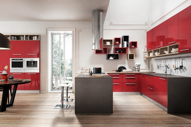 2017 new design design high gloss lacquer kitchen cabinets red color