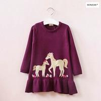 31748147 2017 New Fashion Baby Girls Dress Sweater Dobby Horse Girl Dress Full Sleeve Baby Dress