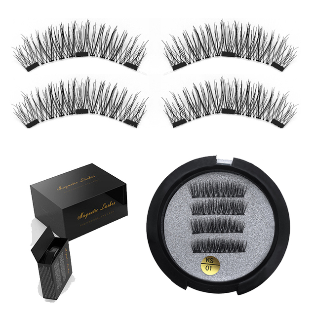 JIEFUXIN 3 Magnetic Eyelashes Extension 3D Eyelashes on the magnet False Eye lashes Handmade magnetic Lashes Thicker Cross