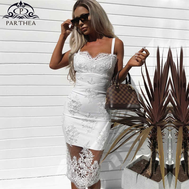 33cccbdbfce Parthea White Mesh Embroidery Dress 2018 Summer Ladies Elegant Sleeveless  Backless Sexy Party Dresses Women Midi