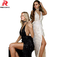Black Gold High Split Sequined Evening Party Long Maxi Dress 2017 New Sleeveless Deep V Neck