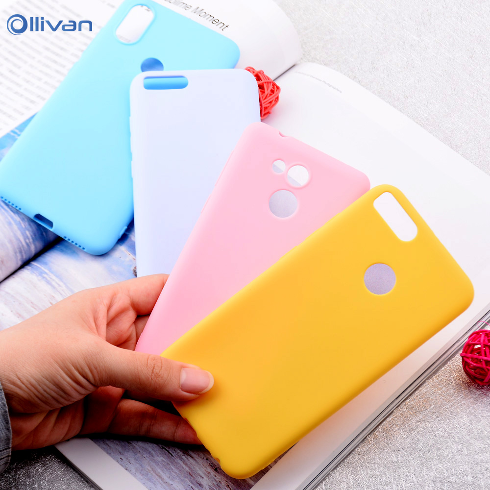 Ollivan Candy Color Matte Soft Case For Huawei P20 Mate 20 10 P10 P8 Lite 2018 y6 Prime 2018 P Smart Silicone Shockproof Cover