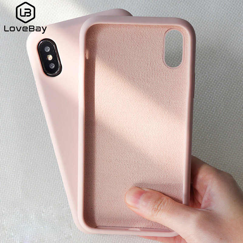 Lovebay Silicone Phone Case For iPhone X 7 8 6 6S Plus Soft TPU Candy Color Shockproof Case For iPhone XS XR Xs Max 11 Pro Cover