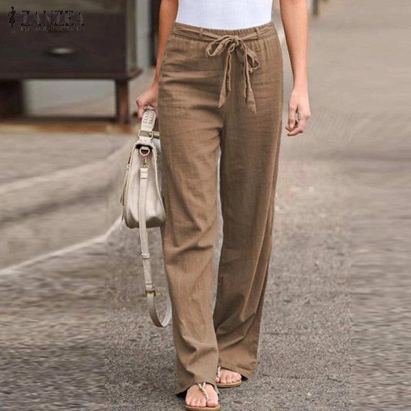2021 ZANZEA Elegant Women Cotton Linen Pants Solid Straight Trousers Ladies  Casual Elastic Waist Long Pantalones Mujer with Belt Pants & Capris  -  AliExpress