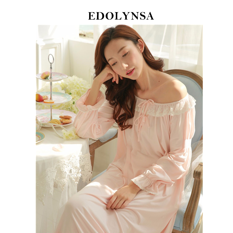 76c4bc5971 New Arrivals Vintage Nightgowns Sleepshirts Soft Home Dress Lace Sleepwear  Solid Sleep   Lounge Cotton Nightgown female   H100