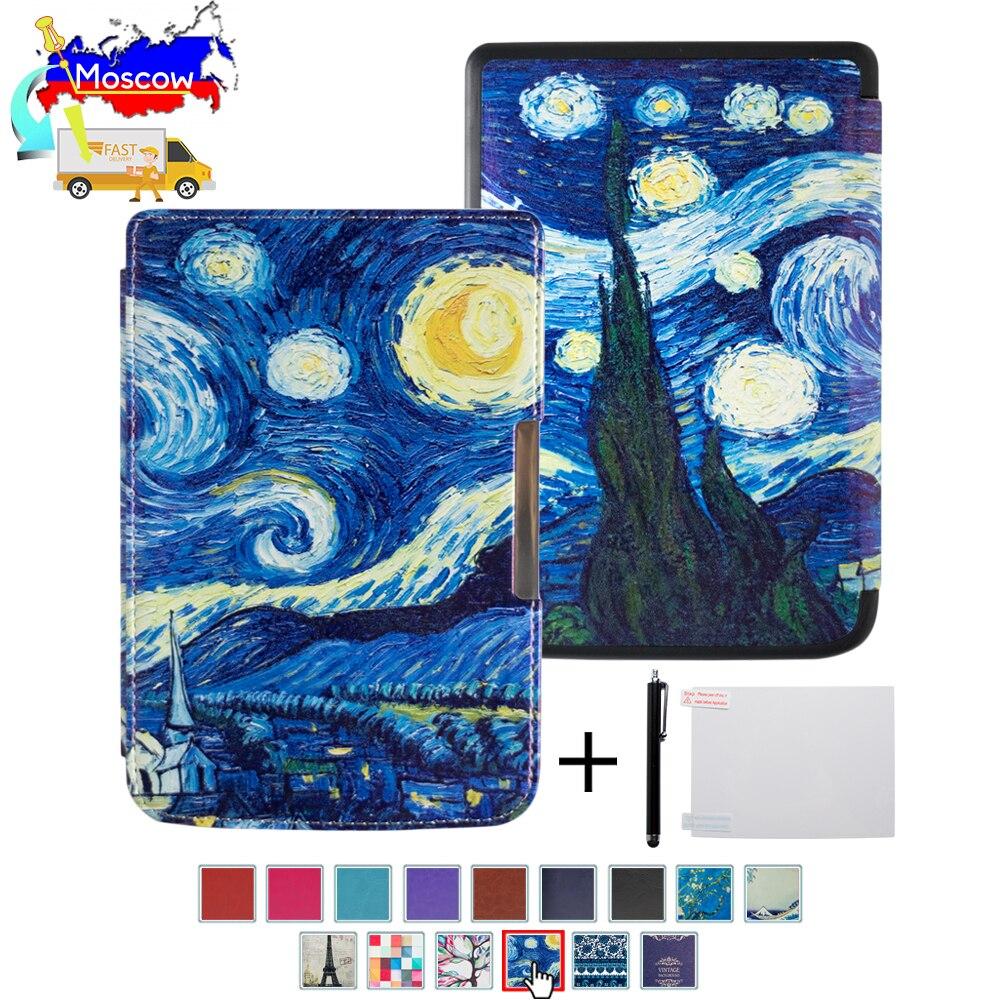Funda de libro de impresión de seda para Pocketbook basic touch lux 2 614/624/626 pocketbook 626 plus ereader
