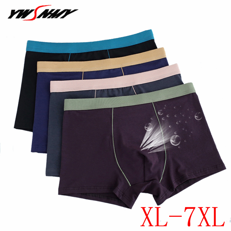 XL-7XL Men's Boxer Shorts Comfortable Men's Solid Underwear Sexy Cotton Boxers 2pcs/lot Plus Size Male Panties 2pcs/lot