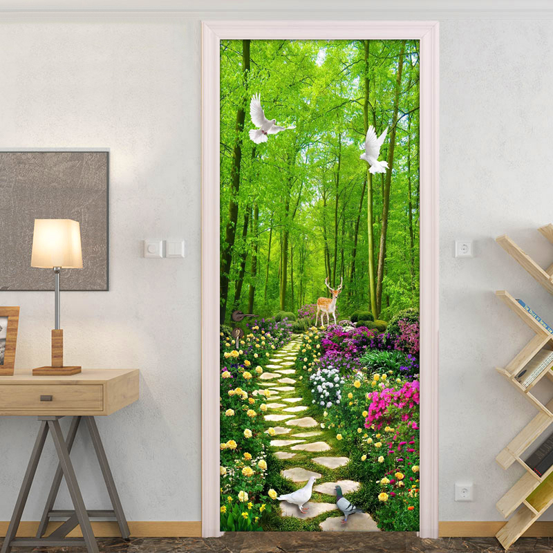 Green Forest Stone Road 3D Photo Wallpaper For Living Room Bedroom Door Sticker Mural PVC Waterproof Self-adhesive Wall Painting pentium horse living room bedroom door mural wallpaper sticker pvc self adhesive waterproof wall papers home decor wall painting