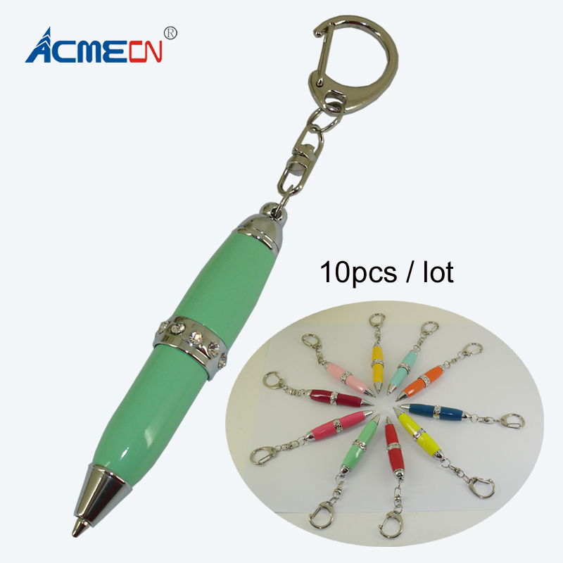 10pcs / lot Mini Cute Ballpoint Pen with Key Ring Multi color Pocket Pen for School Students Gifts Fancy Diamond Stationery Pens-in Banner Pens from Office & School Supplies    1