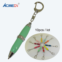 10pcs / lot Mini Cute Ballpoint Pen with Key Ring Multi-color Pocket for School Students Gifts Fancy Diamond Stationery Pens