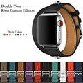 40 мм 44 мм Натуральная кожа двойной тур и Revit пользовательские часы ремешок для Apple Watch серии 5 4 1 2 3 iWatch herme Ремешки для наручных часов