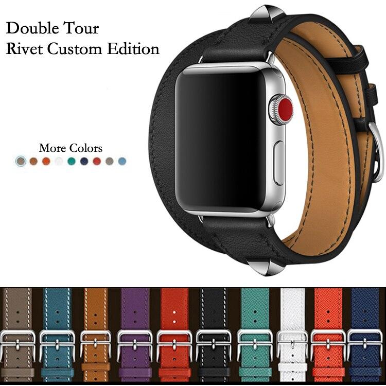 Bracelet de montre personnalisé 40mm 44mm en cuir véritable Double Tour et Revit pour Apple Watch Series 5 4 1 2 3 iWatch herme