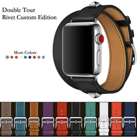 Newest Genuine Leather Double Tour And Revit Custom Watch Band Straps For Apple Watch series 4 1 2 3 iWatch herme Watchbands