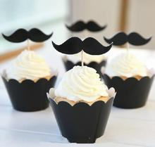 24pcs/lot Wedding Feast Cake 12 Surrounding Edge Topper Moustache Shape Paper Packing Cafeteria Snack Wrapper wc801