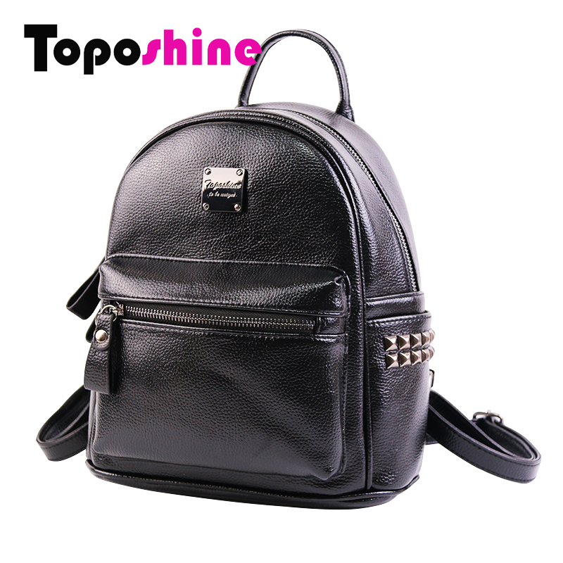 цены на Toposhine Small Rivet Women Backpacks Fashion PU Leather Women Shoulder Bag Rivet Small Ladies Backpack Girls School Bags 1751 в интернет-магазинах