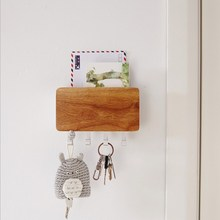 Creative Wooden Aluminum Alloy Storage Rack Home Wall Combination Fashion Living Room Wall Key Storage Hook Hanger