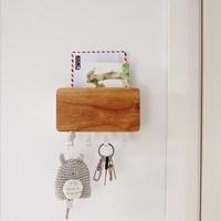 Creative Wooden Aluminum Alloy Storage Rack Home Wall Combination Fashion Living Room Wall Key Storage Hook Hanger