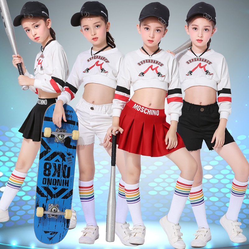 Jazz Dance Children Performance Shirt Pants Suit Casual Hip Hop Stage Skirt Wear Letter Print Dance Costumes Jazzy Dance Kids