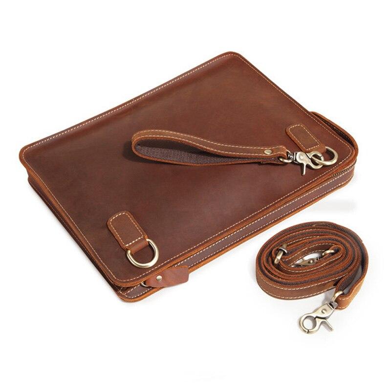Brand Retro Genuine Leather Men's Bag Crazy Horse Leather Business Men Shoulder Messenger Bags Portable Wrist Bag Men Hand Bags цены онлайн