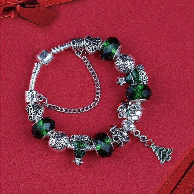 Pandora Christmas 2019 2019 New Green Tree Crystal Glass Christmas Charm Pandora Bracelet