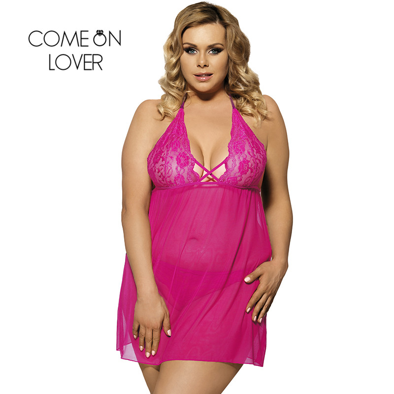 RI80063 Comeonlover Disfraces Sexis Ropa Erotica Stretch Mesh And Lace Wine Red Babydoll Lingerie Sexy V-neck Lingerie Plus Size
