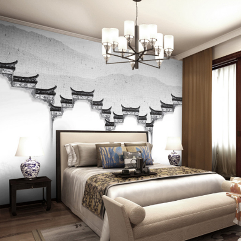 Custom Photo Wall Paper Modern Simple Classical temple painting White TV Background Mural Non-woven Fabric Wallpaper For Bedroom free shipping hepburn classic black and white photographs women s clothing store cafe background mural non woven wallpaper