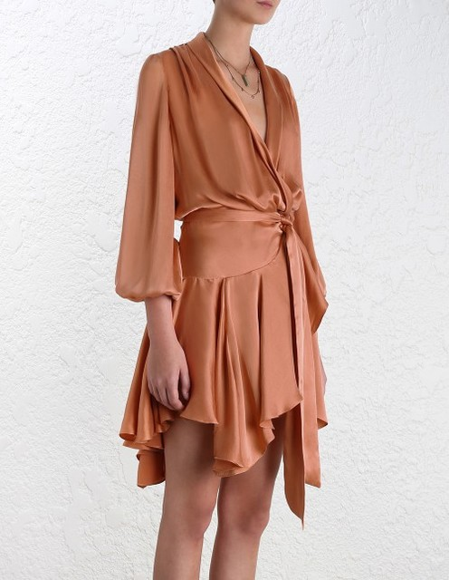 WISHBOP NEW 2018 Summer Luxury Soft Satin effect Short Asymmetric Wrap Dress  V-neck With Belt Tied Long Puff Sleeves 2ac10f93a618