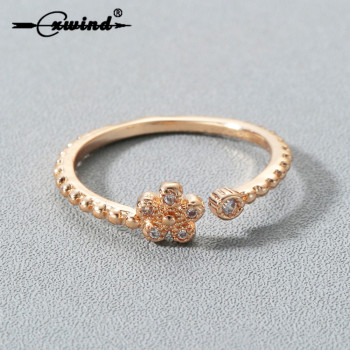 Cxwind New Crystal Clover Flower Rings For Women Fashion Gold Color Snowflake Ring Everlasting Quality Promise Love Gift Jewelry image