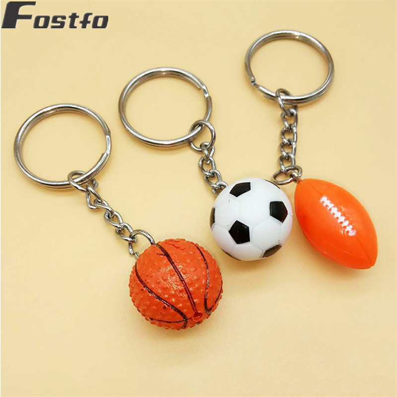 Simple Alloy Car Keychain Keyring Key Chain Holder Cute Resin Basketball Football Soccer Rugby Model Sports Men Key Chain