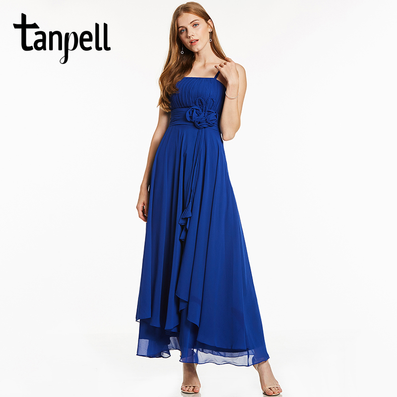 Tanpell Spaghetti Strap Evening Dress Royal Blue Sleeveless A Line Ankle Length Gown Lady Flowers Ruched Long Evening Dresses