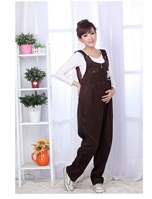 New 2016 corduroy Maternity Overalls Pants for Pregnant Women`s Large Size Suspender Trousers embarazada Pluz size M-4XL J046