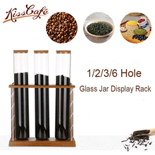 Creative Wooden Coffee Beans Flower Tea Display Rack Stand Cereals canister Glass Test Tube sealed Storage Decorative Ornaments