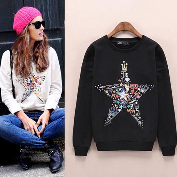 Women Star Printing Embroidery Sweatshirt Jumper Designer pullover Celebrity Hoody Sweatshirt large size