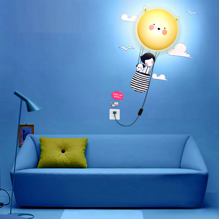 Diy Cartoon Wallpaper Wall Lamp Lights Kid S Bedroom Cute Plastic Lampshade Dog Pig Future Sunflower In Lamps From
