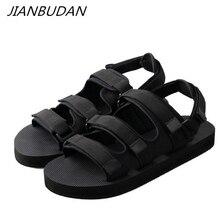 JIANBUDAN/ Flat casual summer women's sandals Non-slip lightweight lovers beach shoes Roman style breathable sandals 35-44 flat toe non slip roman beach sandals