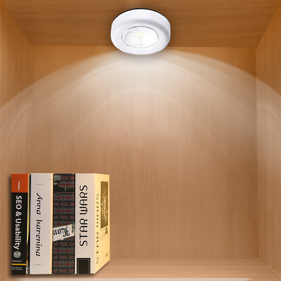 3*AAA Battery Operated Under Cabinet Lights For Kitchen Bedroom Closet Wardrobe Wall Night Light COB Chip Lightly Press Button Under-cabinet lighting