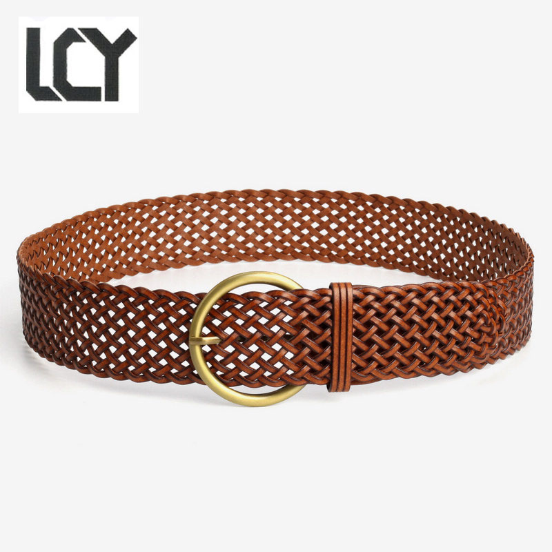 Genuine Leather Knitted Belts For Women New Fashion Braided Belt For
