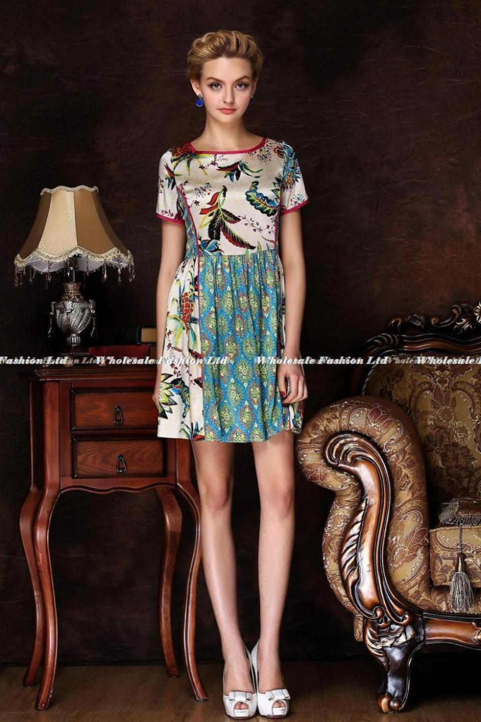 9d806b63a6412 Best Womens Floral 100 Silk Dress Fine Womens Short Sleeve Dresses ...